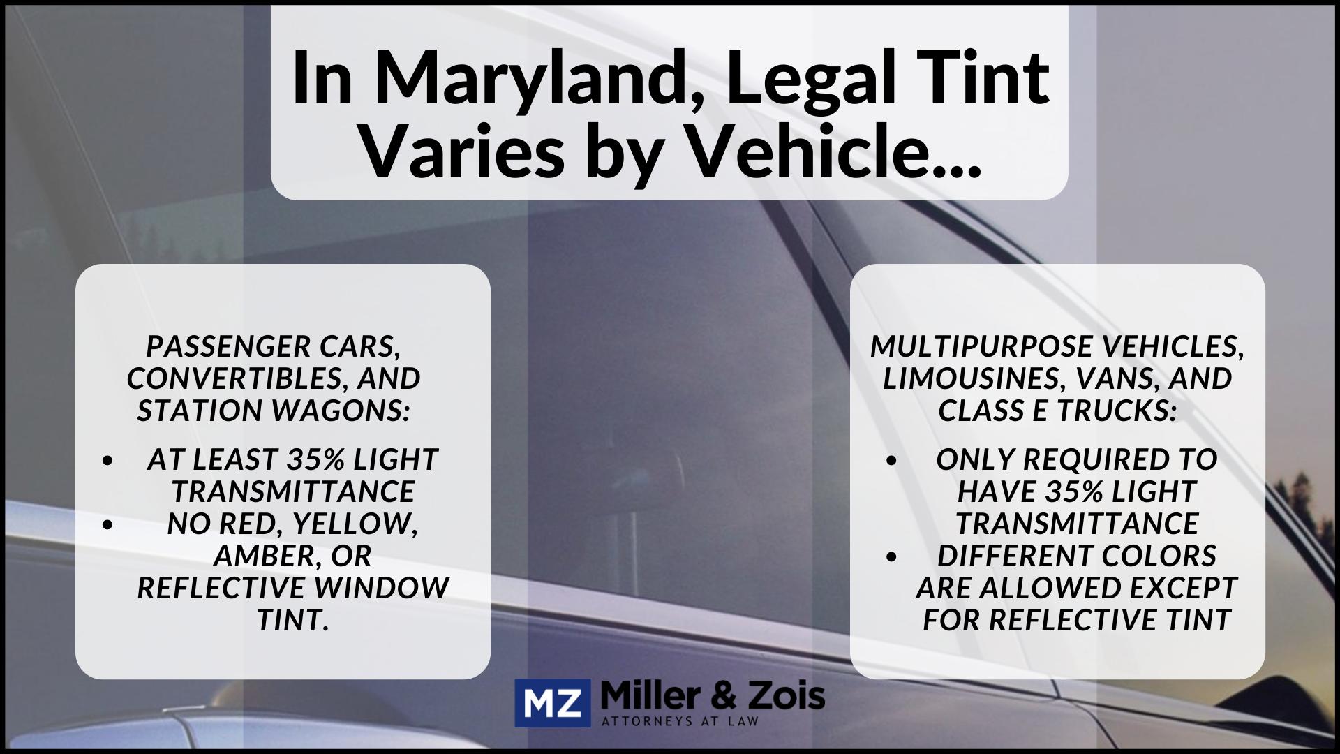 maryland window tint law